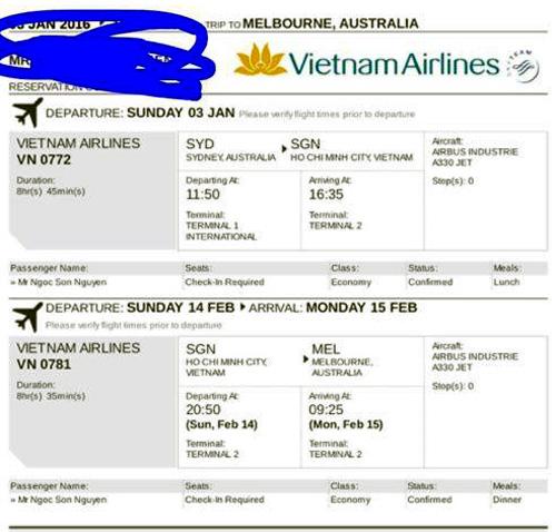 Vé máy bay mà Vi Tran gửi cho người mua, khi kiểm tra thì đã bị hủy.