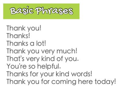 Những cách nói cảm ơn cơ bản, trung tính mà bạn có thể lựa chọn.