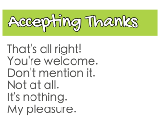 Trả lời lại lời cảm ơn của người khác cũng cho thấy sự tốt bụng, lịch sự của bạn. Những mẫu câu sau đây giúp bạn thể hiện điều này. - Thats all right. (Tốt thôi mà) - Youre welcome. (Rất sẵn lòng) - Dont mention it. (Đừng bận tâm) - Not at all. (Không có gì) - Its nothing. (Không có gì) - My pleasure. (Rất hân hạnh)