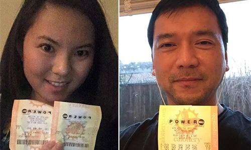 Cô Tracy Lê và anhLê Quang Đức là hai trong số những người Việt thử vận may với xổ số Powerball. Ảnh: NVCC