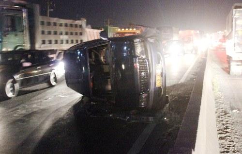 7 người kêu cứu trong ôtô lật nhào trên quốc lộ 1