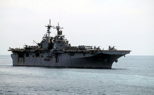 A USS Boxer LHD travels at an offshore location in Goa in this October 29, 2006 file photo.