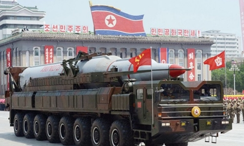 A Hwasong-13 (US designation KN-08) intercontinental ballistic missile on its transporter erector launcher in a military parade in Kim Il Sung Square, Pyongyang, North Korea, on 27 July 2013. Source: PA