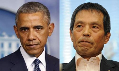 Tổng thống Mỹ Barack Obama và Kazuya Maruyama, nhà lập pháp đảng Dân chủ Tự do (LDP) của Nhật. Ảnh: Reuters, Japan