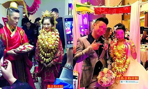 Đám cưới của một cặp đôi gây xôn xao vào tháng trước, trong đó cô dâu đeo hàng chục lắc vàng ở cổ và chú rểđược cho là đã tặng gia đình nhà gái gần 3 triệu nhân dân tệ (gần 500.000 USD) làm quà cưới. Tiền mặt và quà cáp được chất đống kín một góc nhà.