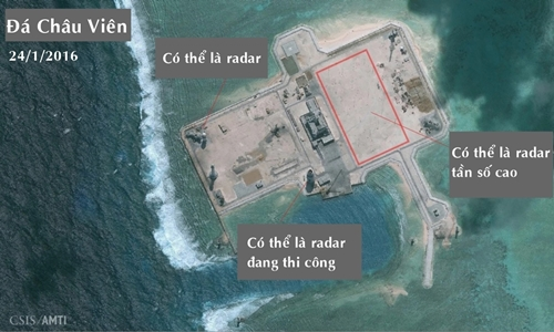 Ảnh vệ tinh cho thấy Trung Quốc có thể đã triển khai radar tần số cao ở đá Châu Viên, quần đảo Trường Sa của Việt Nam. Ảnh: CSIS