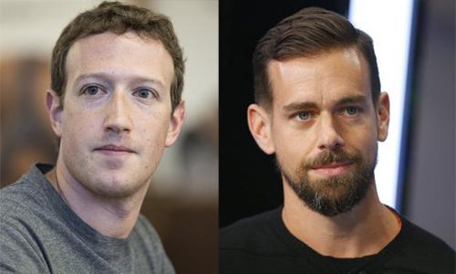 Người sáng lập Facebook Mark Zuckerberg và và người sáng lậpTwitter Jack Dorsey