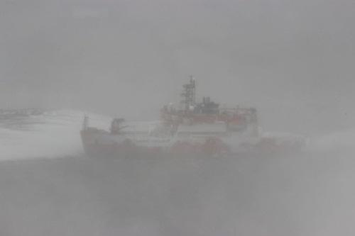 Tàu Aurora Australis khi được neo đậu tại căn cứ. Ảnh: antarctica.gov.au