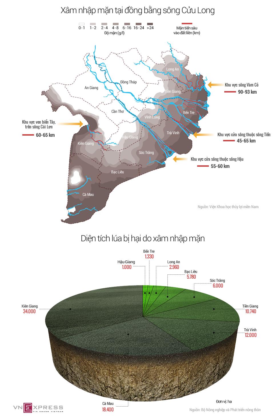 Đồng bằng sông Cửu Long bị xâm nhập mặn thế nào