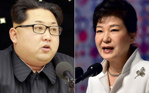 Lãnh đạo Triều Tiên Kim Jong-un và Tổng thống Hàn Quốc Park Geun-hye. Ảnh: Telegraph