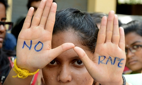 Indian students join an anti-rape protest in Hyderabad in September 2013. Photograph: Noah Seelam/AFP/Getty Images