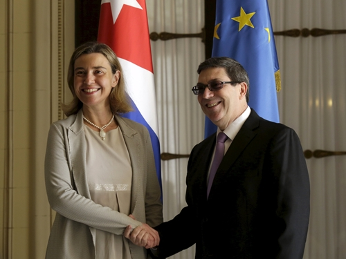 EU foreign policy chief Federica Mogherini shakes hands with Cuba's Foreign Minister Bruno Rodriguez Parrilla during their meet in Havana EU foreign policy chief Federica Mogherini (L) shakes hands with Cuba's Foreign Minister Bruno Rodriguez Parrilla during their meeting in Havana March 11, 2016. REUTERS/Enrique de la Osa TPX IMAGES OF THE DAY