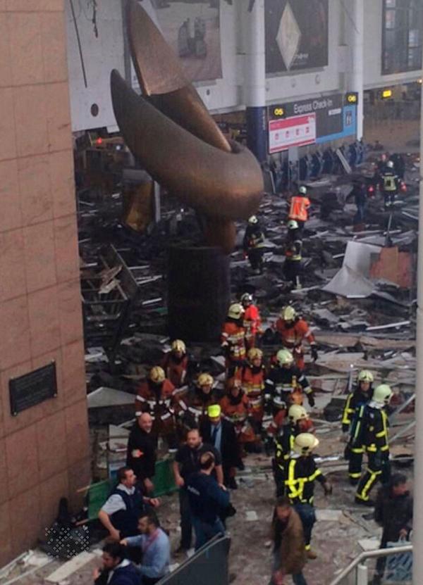 Thiệt hại về vật chất trong sân bay Zaventem. Ảnh:Xposure Photos.