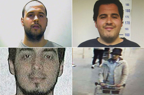 [Caption]Khalid El Bakraoui (top left), the suicide bomber at the Maalbeek subway station. His brother, Ibrahim El Bakraoui (top right), was one of the three attackers at the Brussels airport. Najim Laachraoui (bottom left) is the second attacker at the Brussels airport -- all three are believed dead. A manhunt is under way for the third airport attacker (bottom right), who has yet to be identified.