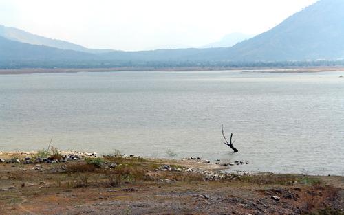 Hồ Sông Sắt cạn gần trơ đáy. Ảnh: Tư Huynh