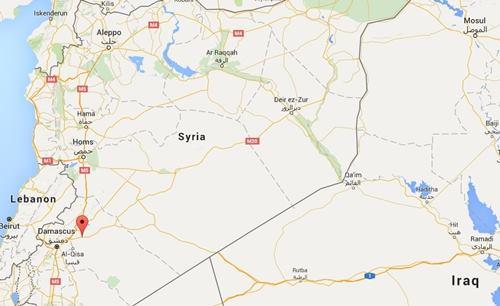 Vị trí thị trấn Dmeir, Syria. Đồ họa: Google Maps.