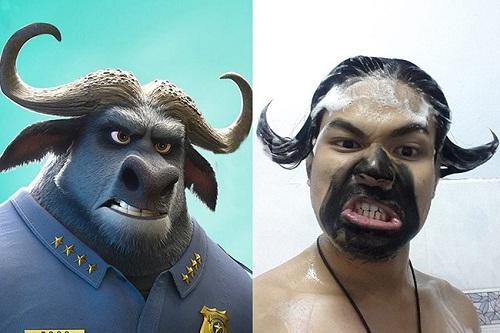 Cảnh sát trâu rừng trong phim hoạt hình Zootopia và đời thực.