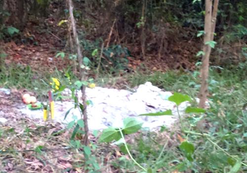 Hộp gỗ chứa xương cốt vừa được chôn trong rừng tràm 2