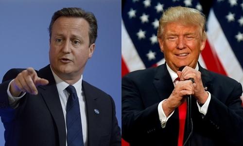 Thủ tướng Anh David Cameron (trái) và ứng viên tổng thống Mỹ đảng Cộng hòa Donald Trump. Ảnh: Reuters.
