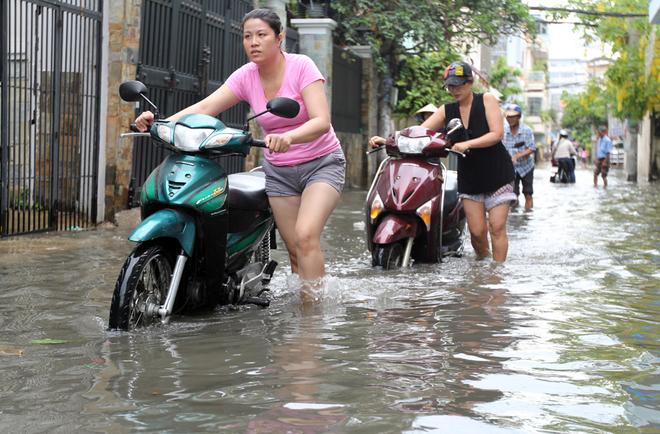 Khu dân cư ở Sài Gòn chìm trong nước sau mưa lớn - ảnh 1