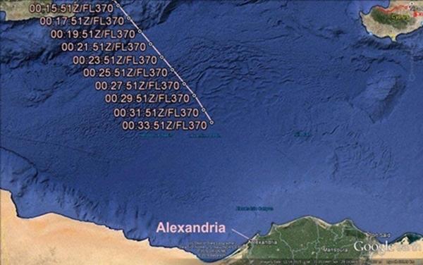 Vị trí MS804 biến mất khỏi màn hình radar. Ảnh: Aviation Herald.