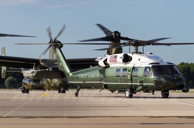 Trực thăng hộ tống Tổng thống Mỹ Obama chạy thử ở Nội Bài - ảnh 5