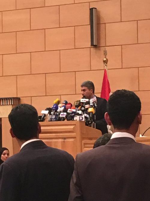 [Caption]Trong cuộc họp báo đang diễn ra, Bộ trưởng Hàng không Ai Cập