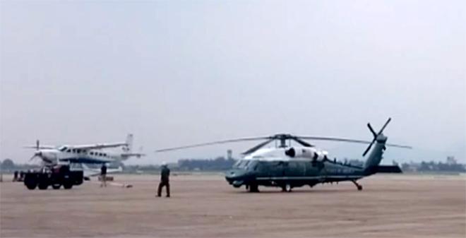Trực thăng hộ tống Tổng thống Mỹ Obama chạy thử ở Nội Bài - ảnh 4