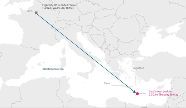 Chấm đỏ là vị trí cuối cùng được biết đến máy bay