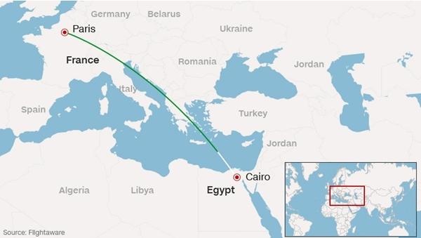 Đường bay của phi cơ Ai Cập mất tích. Đồ họa: Flightsource.
