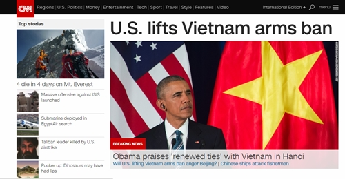 """Báo quốc tế đánh giá Mỹ bỏ cấm vận vũ khí là """"quyết định lịch sử"""" 2"""