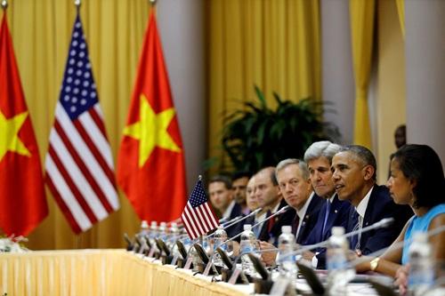 Tổng thống Mỹ Obama phát biểu trong cuộc họp song phương. Ảnh: Reuters