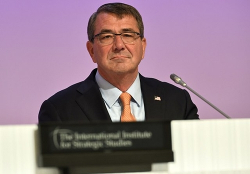 In this file photo, US Secretary of Defense Ashton Carter attends the first plenary session at the 14th Asia Security Summit, the International Institute for Strategic Studies (IISS) Shangri-La Dialogue 2015 in Singapore on May 30, 2015. Roslan Rahman/AFP