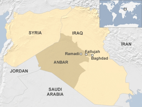Vị trí thành phố Fallujah, Iraq. Đồ họa: BBC.