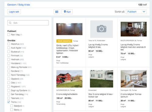 [Caption]Thông tin cho thuê nhà được đăng tải trên finn.no, trang thương mại điện tử lớn nhất của Na Uy. Một phòng chỉ 8 m2 đang được rao cho thuê với giá khoảng 600 USD một tháng hay một phòng 38 m2 ở trung tâm có giá 1300 USD một tháng.