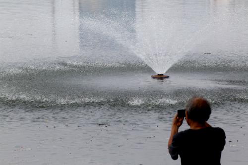Bơm oxy, sục khí để cứu cá trong hồ Hoàng Cầu 2