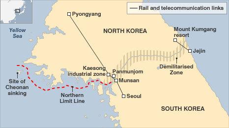 Đường biên giới trên bộ và trên biển giữa Triều Tiên và Hàn Quốc. Đường gạch đỏ là NLL. Đồ họa: BBC.