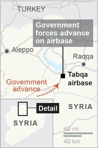 Vị trí thị trấn Tabqa, Syria. Đồ họa: AP.