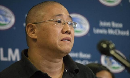 Kenneth Bae speaks upon returning from North Korea during a news conference at U.S. Air Force Joint Base Lewis-McChord in Fort Lewis, Washington, United States on November 8, 2014.