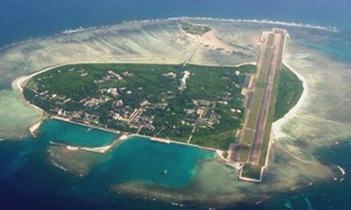 Đảo Phú Lâm, thuộc quần đảo Hoàng Sa của Việt Nam nhìn từ trên cao. Ảnh: People Daily.