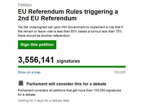 Xóa gần 80.000 chữ ký giả từ kiến nghị bỏ phiếu lại việc Anh rời EU