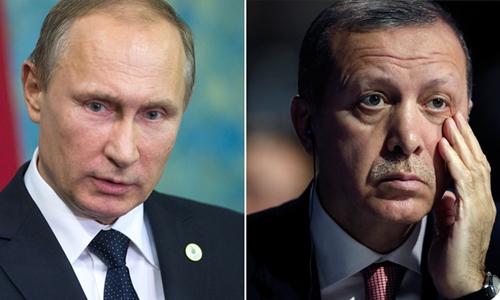 Tổng thống Nga Vladimir Putin (trái) và người đồng cấp Thổ Nhĩ Kỳ Tayyip Erdogan. Ảnh: Sputnik.