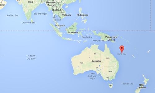 Vị trí biển Coral Sea, Australia. Đồ họa: Google Maps.