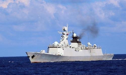 Một tàu chiến Trung Quốc tham gia diễn tập trái phép gần quần đảo Hoàng Sa của Việt Nam trong thời gian từ ngày 5 đến 11/7. Ảnh: Xinhua.