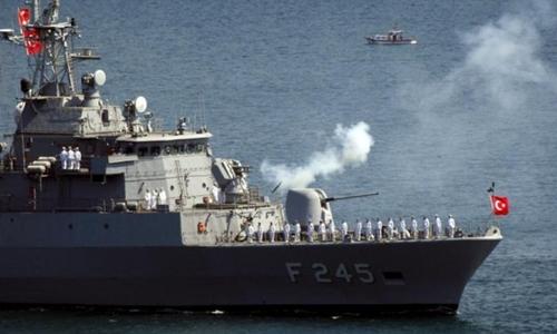 Một tàu chiến của Thổ Nhĩ Kỳ. Ảnh: Reuters.