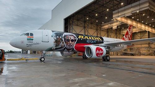 Chuyến bay đặc biệt củahãng hàng khôngAir Asia nhân dịp bộ phim Kabali công chiếu. Ảnh:
