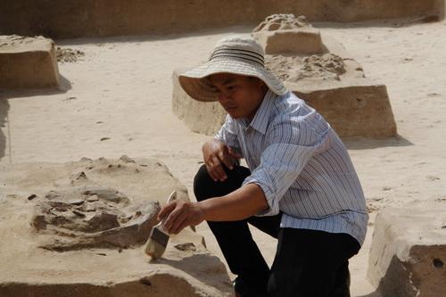 Đoàn nghiên cứu khai quật các mộ táng. Ảnh: Tư Huynh