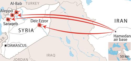 Các địa điểm Nga không kích ở Syria. Đồ họa: Dhaka Tribune.