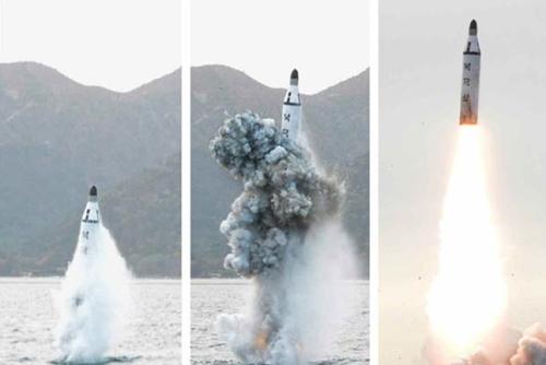 Triều Tiên phóng thử tên lửa đạn đạo từ tàu ngầm ngày 24/8. Ảnh minh họa: Rodong Sinmun.
