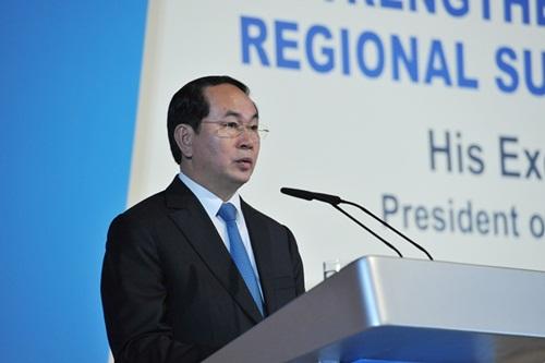 Chủ tịch nước Trần Đại Quang phát biểu tại Đối thoại Singapore. Ảnh: ISEAS